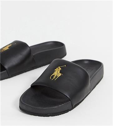 Polo Ralph Lauren - Slippers in zwart met gouden logo, exclusief bij ASOS