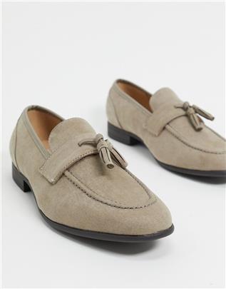 ASOS DESIGN - Loafers van grijs imitatiesuède met natuurlijke zool