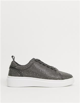 ASOS DESIGN - Sneakers met dikke zool en siersteentjes-Zilver