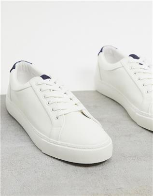 ASOS DESIGN - Sneakers met contrasterende tong en hak in wit
