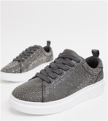 ASOS Design - Sneakers met dikke zool, brede pasvorm en sierdiamanten-Zilver