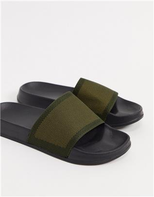 ASOS DESIGN - Slippers met geweven band in kaki-Groen