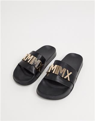 ASOS DESIGN - Slippers met gouden detail in zwart-Blauw