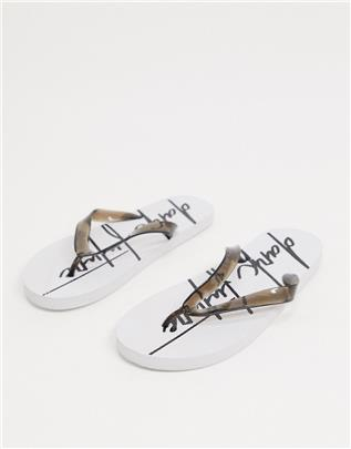 ASOS - Dark Future - Teenslippers in wit met logo-Blauw