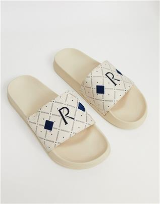 ASOS DESIGN - Slippers met band met monogram-Kiezelkleurig