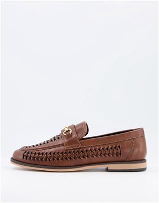 ASOS Design - Geweven loafers van imitatieleer in bruin