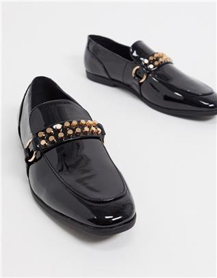 ASOS DESIGN - Zwarte lakleren loafer met gouden studs