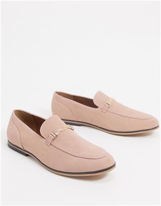 ASOS DESIGN - Loafers van roze imitatiesuède met trens