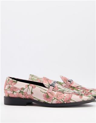 ASOS DESIGN - Loafers met bloemenprint en metalen trens-Roze