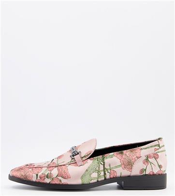 ASOS DESIGN Wide Fit - Loafers in veelkleurige bloemenprint met trens-Roze