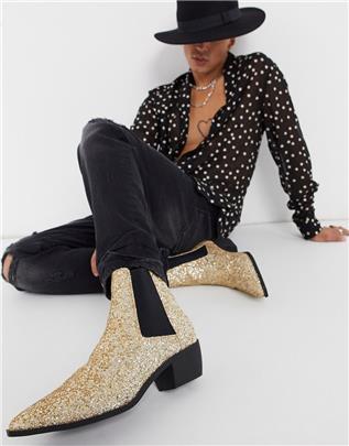 ASOS DESIGN - Western Chelsea boots met Cubaanse hak in goud met glitter met metalen details