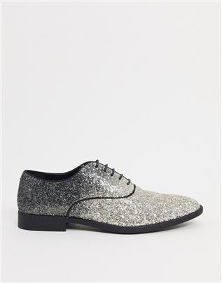 ASOS DESIGN - Nette schoenen met veters in zwart met ombré lovertjes-Zilver