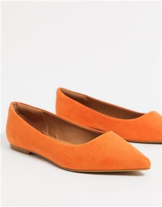 ASOS DESIGN - Lucky - Puntige ballerina's in oranje