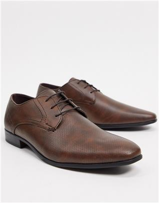 Burton Menswear - Derby schoenen van imitatieleer in bruin-Lichtbruin