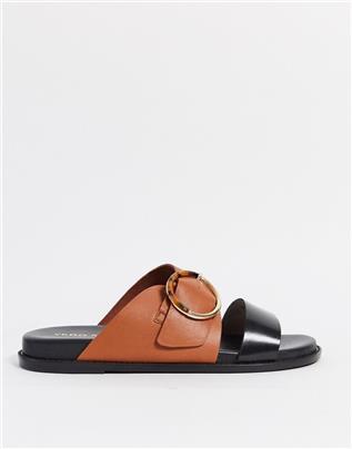 Vero Moda - Platte sandalen met kleurvakken-Bruin