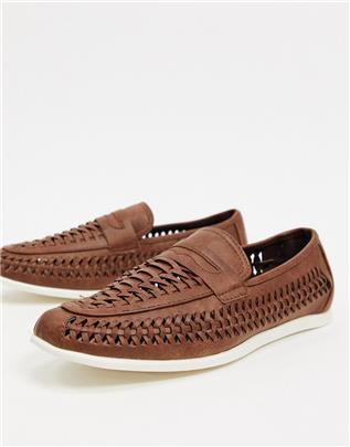 New Look - Gevlochten loafers met kwastjes in bruin