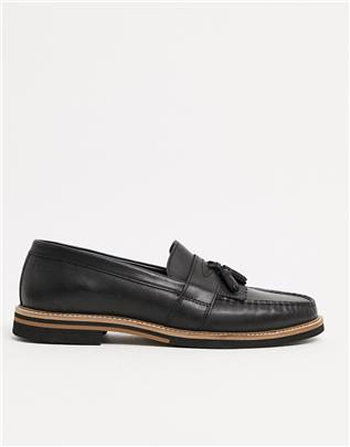 ASOS DESIGN - Loafers van zwart leer met kwastjes en contrasterende zool