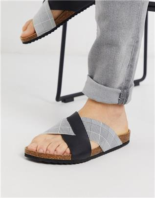 Brave Soul - Geruite slippers met kruisband-Zwart