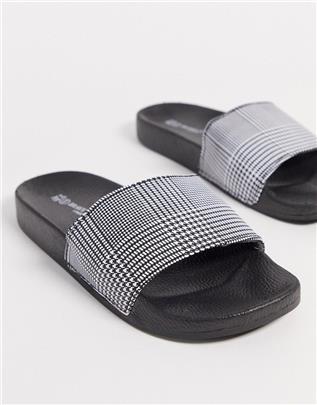 Brave Soul - Slippers met ruitprint-Zwart