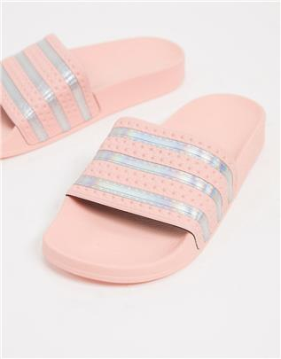adidas Originals - Adilette - Slippers in roze en zilver