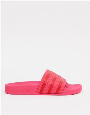 adidas Originals - adilette - Slippers in roze-Wit