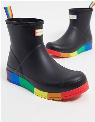 Hunter - Original Pride - Play - Regenlaarzen in zwart en regenboogprint