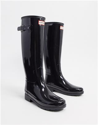 Hunter - Original - Hoge glimmende regenlaarzen in zwart