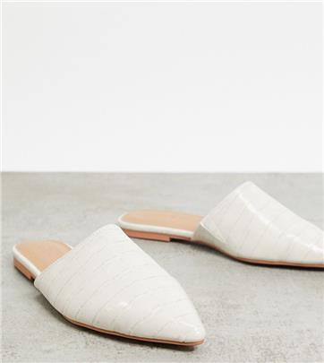 ASOS DESIGN - Lava - puntige platte muiltjes met brede pasvorm in grijs met krokodillenmotief