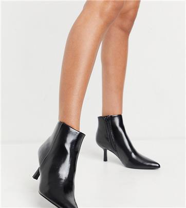 ASOS Design - Wide Fit - Reunite - Puntige laarzen met bijzondere hak in zwart