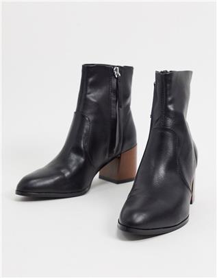 ASOS DESIGN - Reporter - Laarzen met uitlopende houten hak in zwart