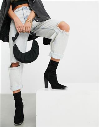 ASOS DESIGN - Electra - Enkelhoge sock boots met hoge hak in zwart