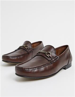 ASOS DESIGN - Loafers van bruin leer
