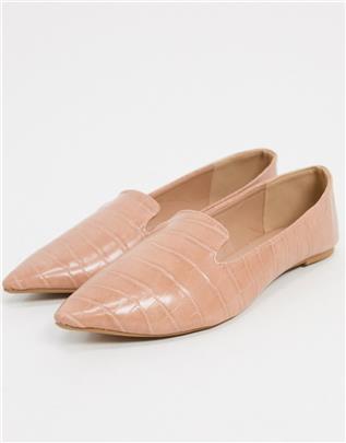 Qupid - Platte schoenen in beige met krokodillenmotief