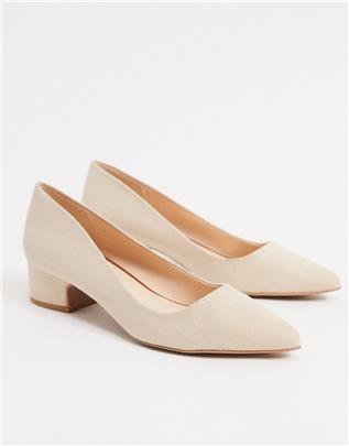 Qupid - Puntige schoenen met halfhoge hak in beige-Neutraal