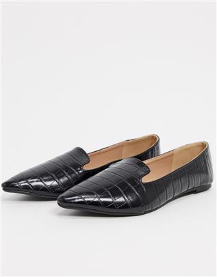 Qupid - Platte schoenen in zwart met krokodillenmotief