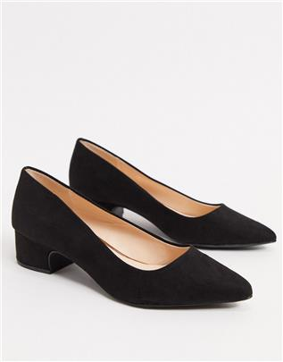 Qupid - Puntige schoenen met halfhoge hak in zwart
