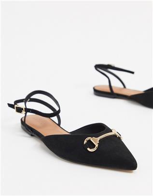 ASOS DESIGN - Laugh - Puntige ballerina's in zwart