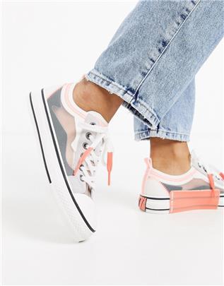 Ash - Vertu - Ripstop sneakers met plateauzool in grijs en roze-Multi