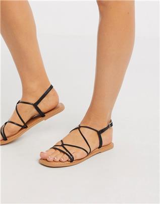 New Look - Platte sandalen met strikbanden in zwart