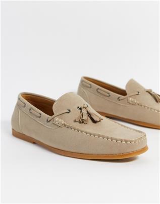 Brave Soul - Loafers van imitatiesuède in beige