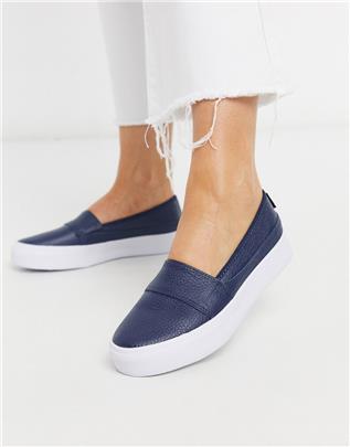Lacoste - Marice - Leren instapsneakers in marineblauw