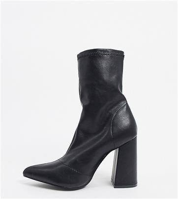 Truffle Collection - Sock boots met hak en brede pasvorm in zwart