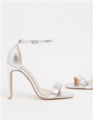 Glamorous - Minimalistische sandalen met hak en zilverkleurige krokodillenprint