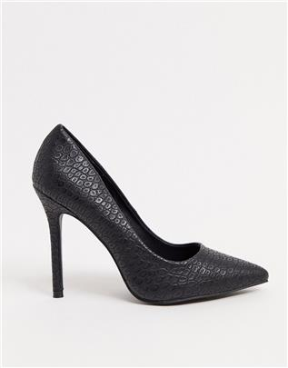 Glamorous - Pumps met zwarte krokodillenprint