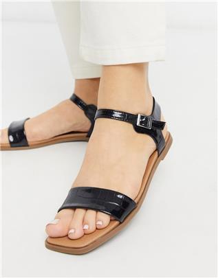 New Look - Platte sandalen met vierkante neus en zwarte krokodillenprint in leerlook