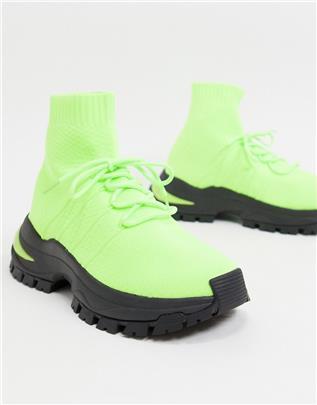 ASOS Design - Soksneakers met veters in neon-Geel