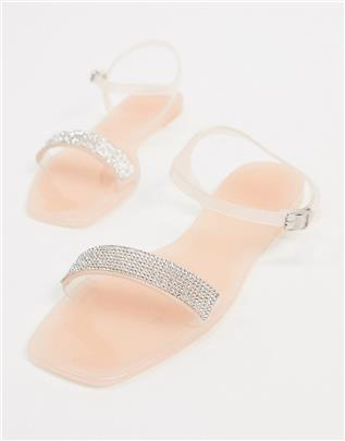 Truffle Collection - Jelly sandalen met versiering in doorzichtig beige