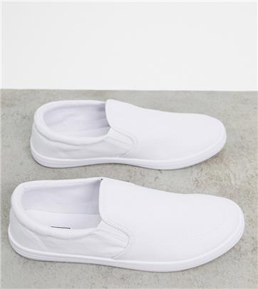 ASOS DESIGN - Slip-on gympen met brede pasvorm van wit canvas