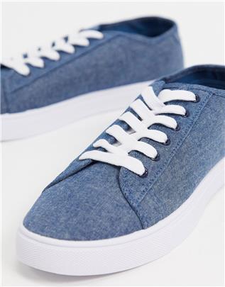 ASOS DESIGN - Canvas sneakers in blauw-Marineblauw