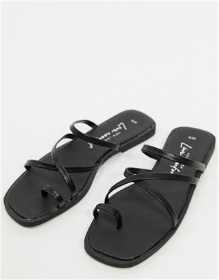 New Look - Platte sandalen met teenlusje en bandjes in zwart
